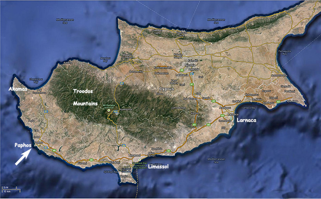 Satellite Map of Cyprus