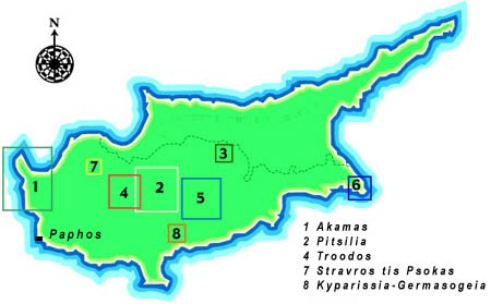 Areas with good long-distance walking in Cyprus.  All but area 3 can all be reached easily by car for day walks from Limnaria Villas.